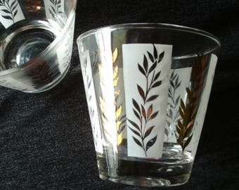 Vintage Whiskey Scotch Martini Glasses, Frosted and Gold Leaf Design, Man Cave, For Him