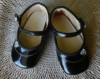 Black Mary Jane Shoes, Baby/ Toddler Shoes, Vintage Girl's Shoes, NOS