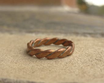 Vintage 1960s Ring - Copper Braided Ring - Twisted Ring - Flat Rope ring - Modernist - Size 7 Ring
