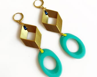 Big Bold Statement Earrings, Modern Geometric Earrings, Blue Gold Drop Earrings