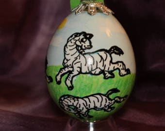 Hand decorated Blown Egg Ornament (Zebras)