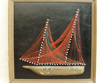 Vintage String Art, Sail Boat, Ship, Handmade, Nautical, Wall Decor, Hand Crafted, Man Cave, Art, Assemblage, Mixed Media, Metal Wire