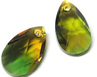 Crystal Glass Teardrop Fern Green and Topaz  22 x 13mm Faceted Pear Pendants - 4 Pieces