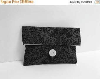 ON SALE Ready To Ship Cosmetic Bag - Black and Gray Damask Makeup Bag