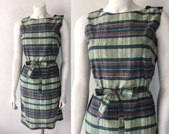 Vintage 60s Plaid Shift Dress India Madras Authentic Hand Woven