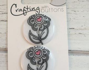 SALE Daisy Doodles Buttons by Blumenthal Lansing Style #1402 Crafting with Buttons Collection Black and White 2 Hole Carded Buttons