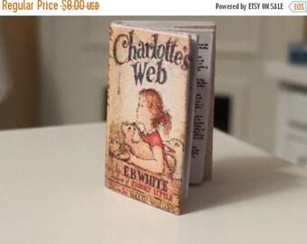 SALE Miniature Charlotte's Web Book, Dollhouse Miniature, 1:12 Scale, Mini Book, Color Book Cover, Printed Pages, Dollhouse Accessory