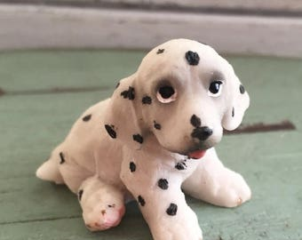 SALE Miniature Dalmatian Puppy Dog Figurine, Style 2, Fairy Garden Accessory, Home and Garden Decor, Cake Topper