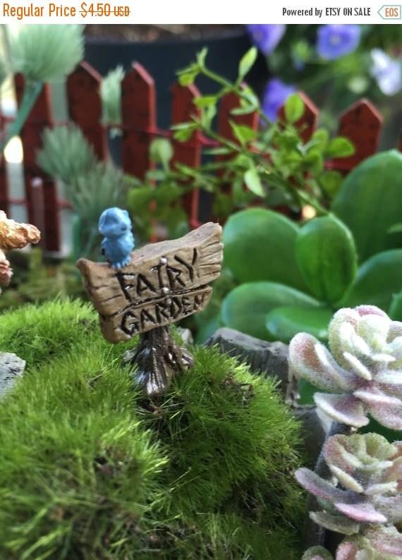 "SALE Micro Mini Fairy Garden Sign With Blue Bird,  Garden Decor, Terrarium Accessory, Embellishment, ""Fairy Garden"" Sign, Wood Look Sign"