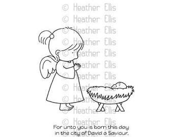 Angel Rubber Stamp, Rubber Stamp Set, Baby Jesus, Unmounted Rubber Stamps, Paper Crafters, Stampers, Nativity set, Sale items, Bible verse