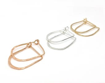 Right Angle Hoop Earrings // LanaBetty // Contemporary Jewelry // Sterling Silver Rose Gold Earrings // modern minimalist // modern jewelry