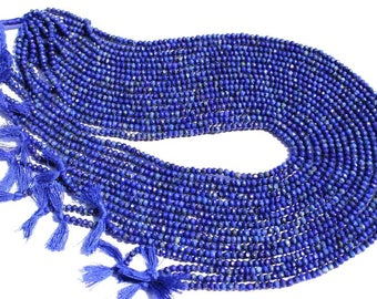 AA Quality Rondelle Faceted Shape in Lapis Lazuli Beads, 3.2 to 3.5, LA-023, Semiprecious Gemstone Beads, Craft Supplies For Jewelry Making