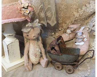 A whimsical Tiny Bunny bear artist mohair teddy bear vintage style with lace and buttons handmade by Olive Grove Primitives