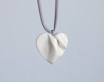 Work of HEART sculpted porcelain necklace, ceramic heart pendant, grey satin cord, white ceramic glaze, gift box