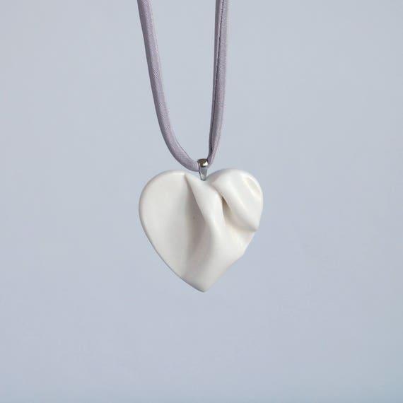 Work of HEART sculpted porcelain necklace, ceramic heart pendant, grey satin cord, white ceramic glaze, gift box