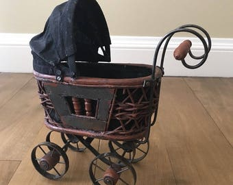 Vintage Black Victorian Style Wicker Metal Doll Stroller Carriage Home Decor