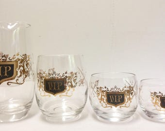 Vintage 15 Piece Mid Century VIP Roly Poly Glasses Tumblers VIP Martini Pitcher Gold and Black VIP Crest Man Cave Executive 15 Piece Set