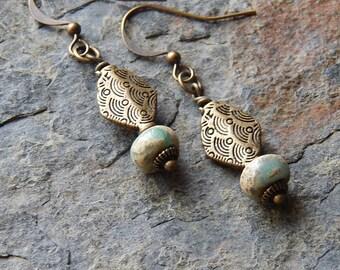 Blue stone earrings - Ocean blue sea sediment jasper earrings - surf and turf - seaside themed little dangle earrings - bohemian jewelry