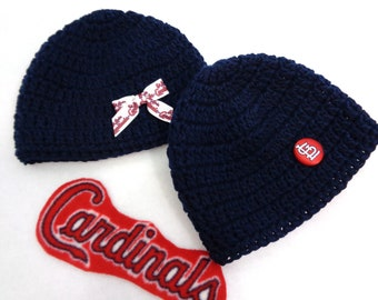 Navy Hat with St. Louis Cardinals Button or Ribbon, MADE TO ORDER by Charlene, Photo Prop, St. Louis Cardinal Inspired, Twins Boy and Girl