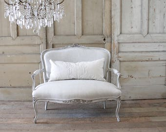 Antique French Louis XV Carved Roses Open Arm Settee