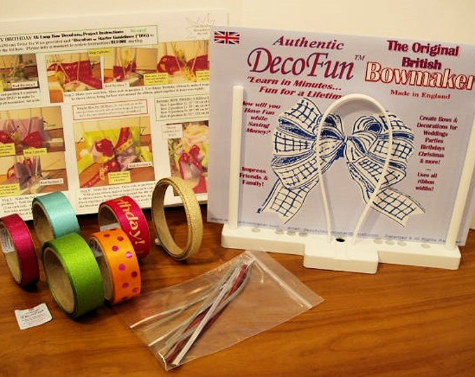 "DecoFun Bowmaker ""Brights"" DELUXE Starter Kit - DIY beautiful, easy & quick beautiful ribbon bows in minutes, for gifts, crafts, scrap books"