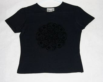 Sweet Black Stretch Nylon Tee with Velvet Embossed Floral Design- Size S/M