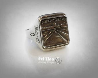 Memory Of Holocaust Day Auschwitz Camp BY Ezi Zino Design Solid Sterling Silver 925 Ring