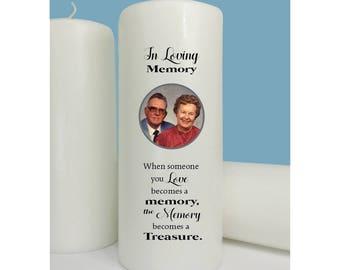 Treasured - Photo Memorial Candle - Wedding Memorial - Sympathy- Remembrance Candle - Memory Candle - Treasured Memory