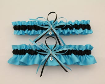 Turquoise And Black Wedding Garter Set With Guitar CharmsBridal Prom