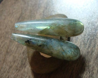 2 pcs, 8x30mm, Labradorite Elongated Smooth Tear drop Briolette, Top Drilled, Half Drilled, Designer Pieces, m1