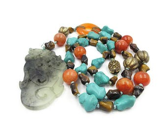 Chinese Export Jade Necklace with Carnelian Beads, Turquoise and Tigers Eye Knuckle Beads, Silver Filigree Clasp, Vintage Chinese Jewelry