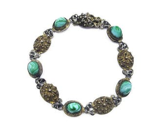 Antique Sterling Vermeil Cannetille Bracelet with Turquoise Art Glass Stones - European Silver, Sterling Bracelet, Antique Jewelry