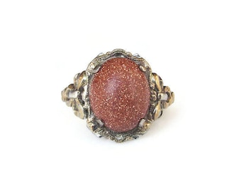 Clark and Coombs Sterling 10K Gold Ring - Goldstone, Sunstone, Antique Ring, Vintage Ring, Vintage Jewelry, Size 5.25