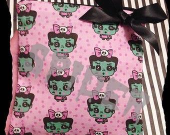 Frankenstein Baby Frankette TM  Coin Purse  Make up Bag Pouch Cute Gothic Accessories Goth cosmetic bag   Zipper Purse Pink Polka Dot