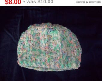Cable Stitch Hat Size 18 Months Crochet Pastel Hat For Toddler