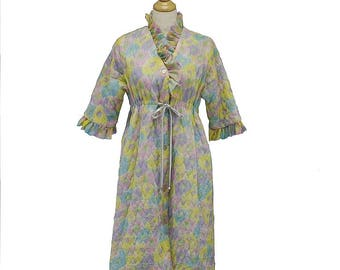 Vintage 60s Ruffled Trim Quilted Nylon Empire Waist Robe, Med, Large, Near Mint