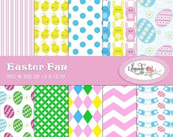 65%OFF SALE Easter fun digital papers, Easter digital scrapbook paper, Easter backgrounds, commercial use, P167