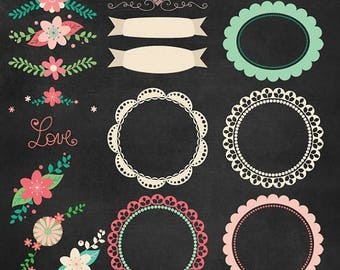 65%OFF SALE Chalkboard clipart, chalkboard floral frames, chalkboard frame clipart, chalkboard floral clipart, chalkboard digital paper, P19