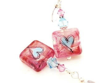 Pink Earrings, Lampwork Earrings, Heart Earrings, Glass Bead Earrings, Tile Earrings, Heart Jewelry, Valentine Earrings, Cute Earrings
