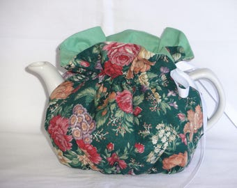 2 Cup Pretty Floral on Green Reversbile Teapot Cozy