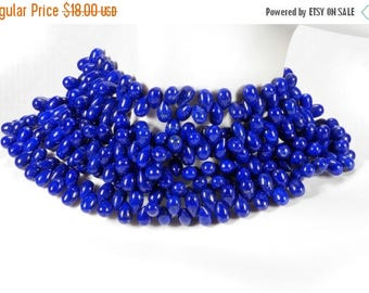 ON SALE Lapis Lazuli Teardop Beads Calibrated Smooth Lapis Briolettes Earth Mined Gemstone  -   25 Beads  -   6x4mm