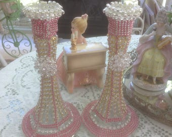 pink and clear rhinestone studded candle holder with clear jewels, set of 2