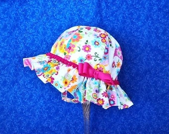 Baby Sun Hat Paisley and Flowers with Chin Straps and Bow on the Side