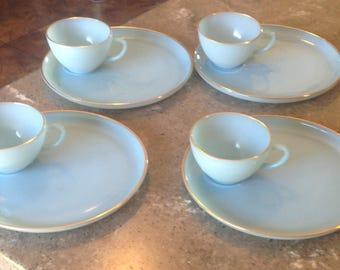 Vintage Fire King Turquoise Blue Glass Hostess Delight 22 Kt Gold Trim Glass 8 Piece Snack Set