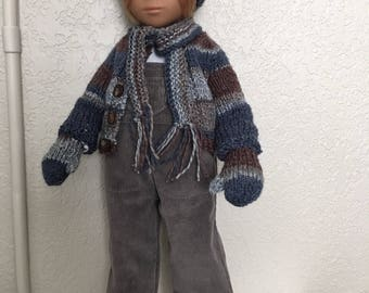 Corduroy Overalls Set, Cardigan, Hat, Socks, Mittens, Scarf, for Sasha or Gregor: 7 Pieces