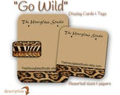 Custom Earring Cards, Jewelry Card, Animal Print design , Necklace Tags, Jewelry Display, Labels, Necklace Display, Earring Display