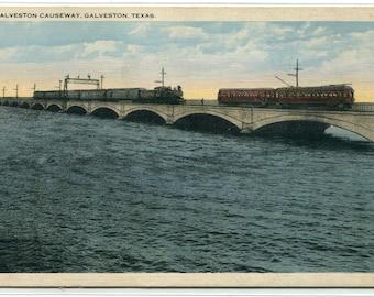 Railroad Trains Galveston Causeway Texas 1930s postcard