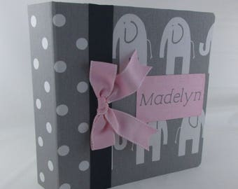 Girl Baby Book Elephant Baby Memory Book Pink Gray Polka Dot Personalized and Custom Baby Shower Gift Pregnancy Journal