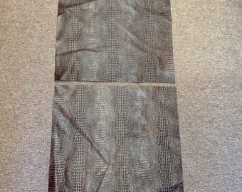 6-799.  Package of 2 Brown Embossed Hornback Gator Leather Cowhide Swatches