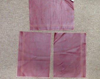 SWAT305. Package of 3 Atollo Red Leather Cowhide Remnants